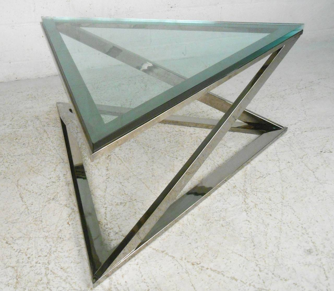 MidCentury Modern Style Triangular Chrome Coffee Table For Sale At - Mid century triangle coffee table