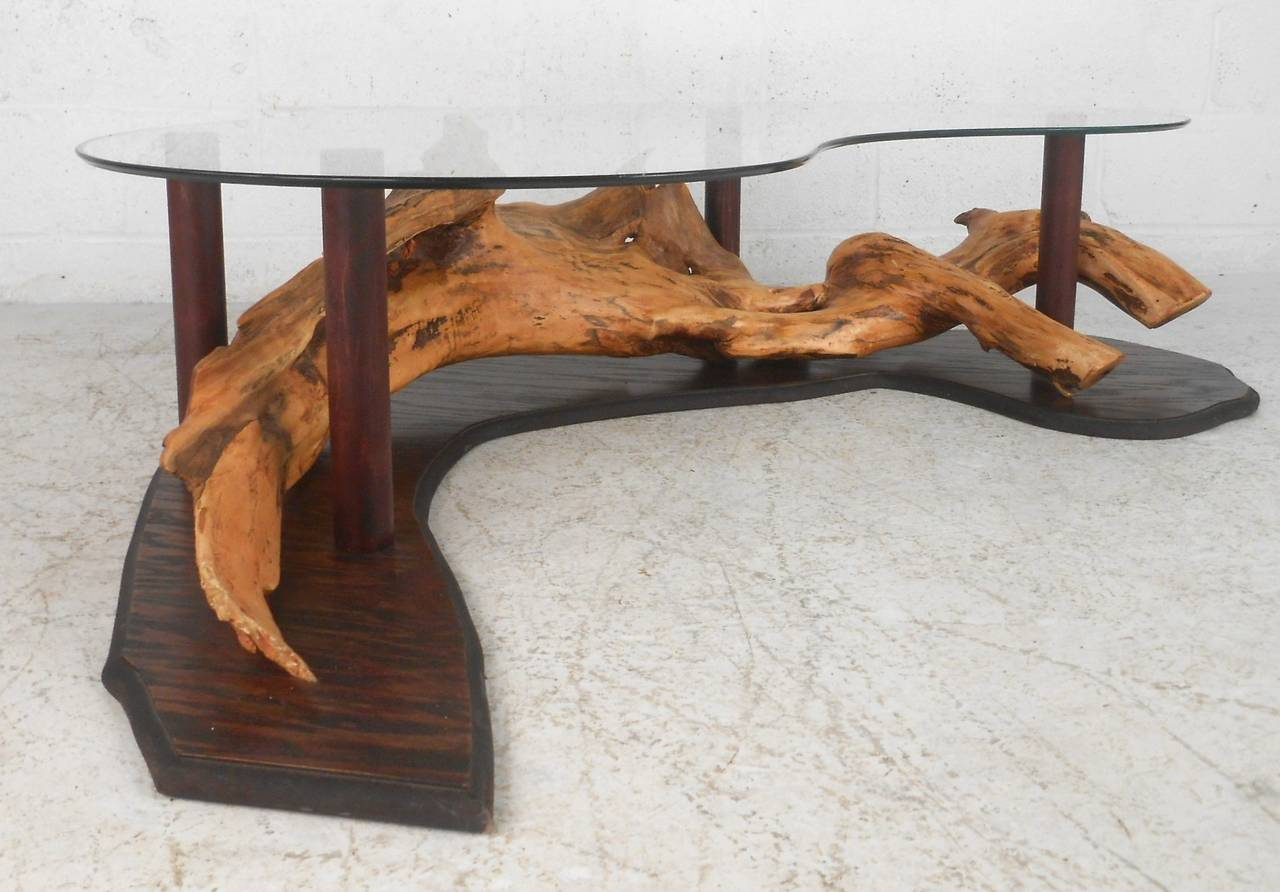 unique mid century modern rustic driftwood coffee table for sale at 1stdibs. Black Bedroom Furniture Sets. Home Design Ideas