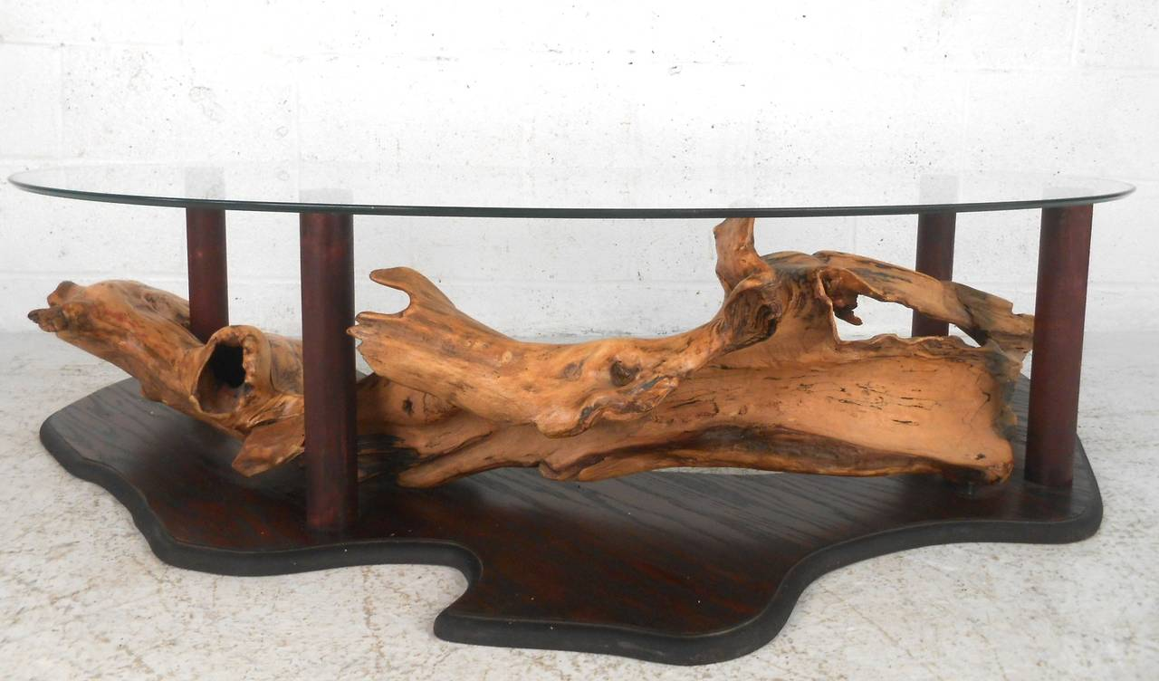 Unique MidCentury Modern Rustic Driftwood Coffee Table For Sale at
