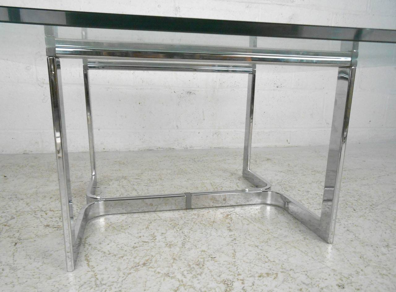 Vintage Modern Chrome and Glass Coffee Table For Sale 2