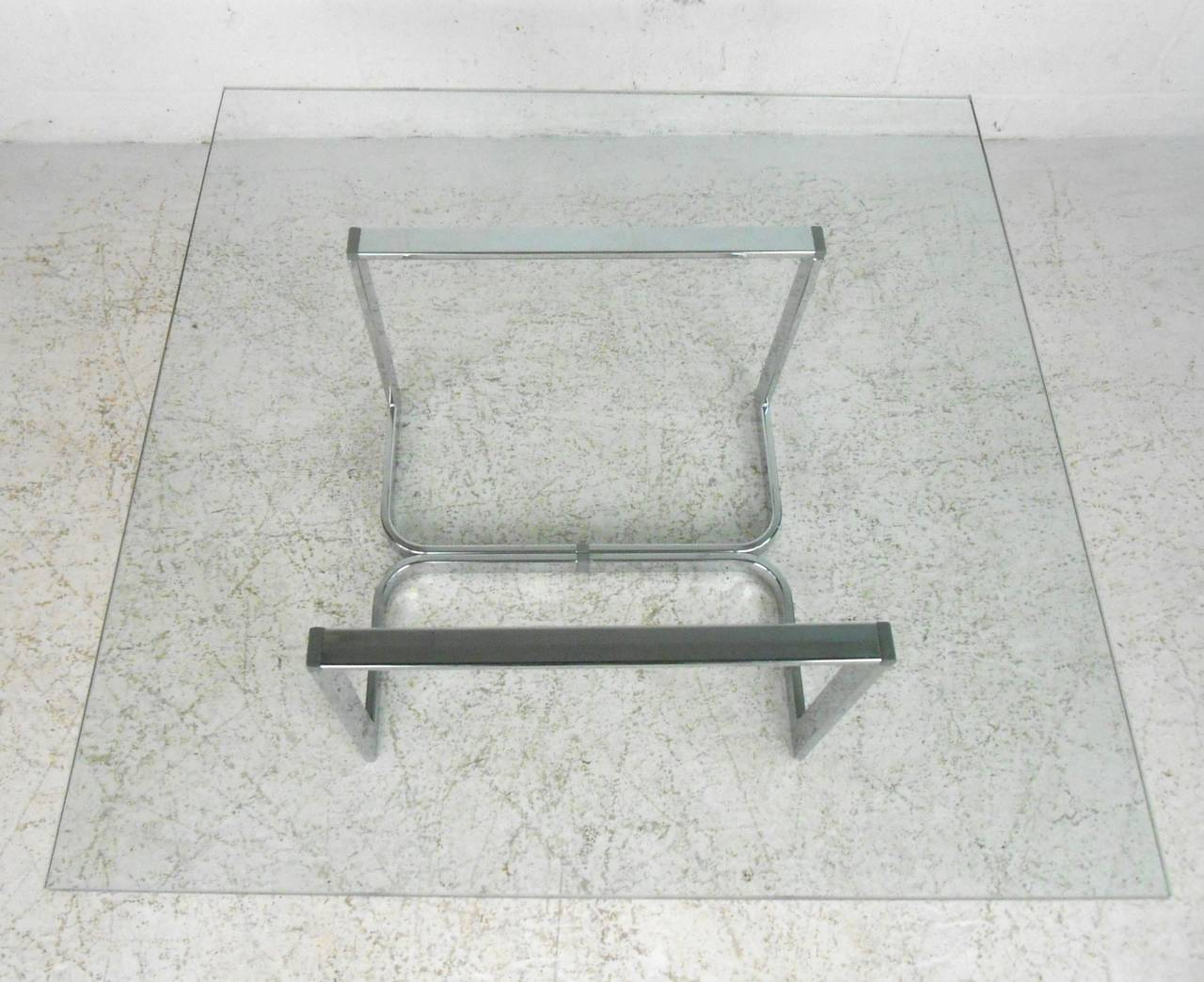 Vintage Modern Chrome and Glass Coffee Table For Sale 4