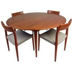 Teak Dining Table and Set of Six Chairs by Niels O. Moller