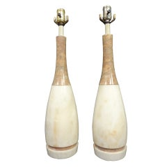"""Pair of Marble """"Bowling Pin"""" Lamps"""
