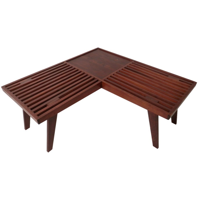 Unusual 39 v 39 shape slat table at 1stdibs for Unusual tables