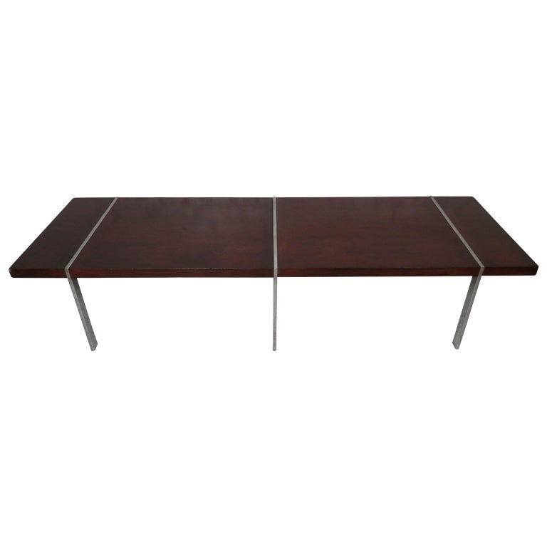Lane Long Coffee Table: Long Chrome And Walnut Coffee Table By Lane At 1stdibs