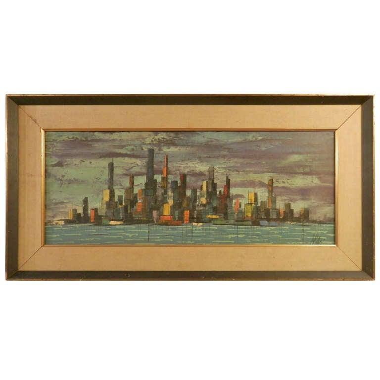 Vibrant Skyline Oil Painting Signed