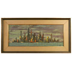 Vibrant Skyline Oil Painting Signed