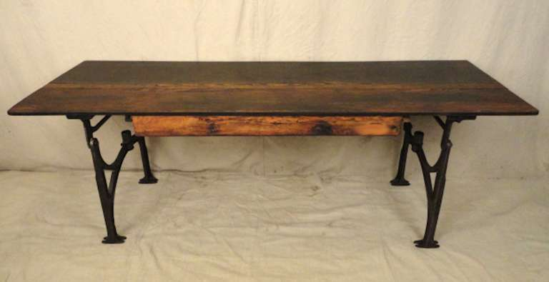 Machine Age Work Table With Iron Base At 1stdibs
