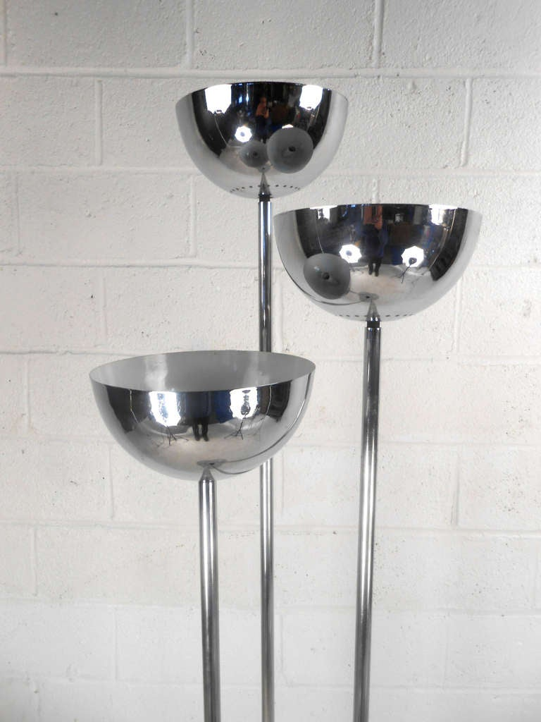 American Stylish Vintage Modern Three Head Chrome Floor Lamp For Sale