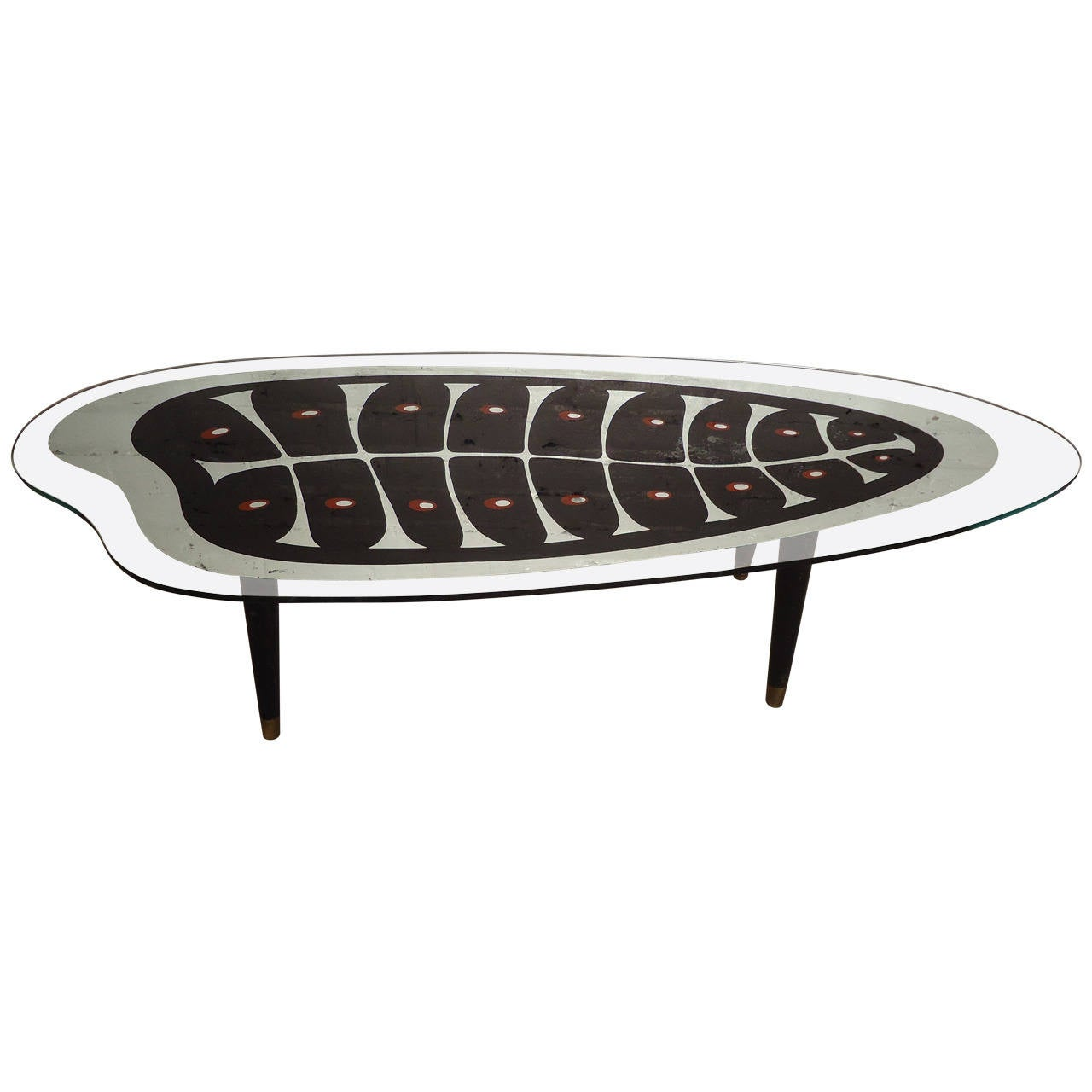 Rare Midcentury Mirrored Coffee Table With Painted Design For Sale At 1stdibs