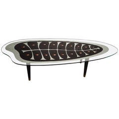 Rare Mid-century Mirrored Coffee Table with Painted Design