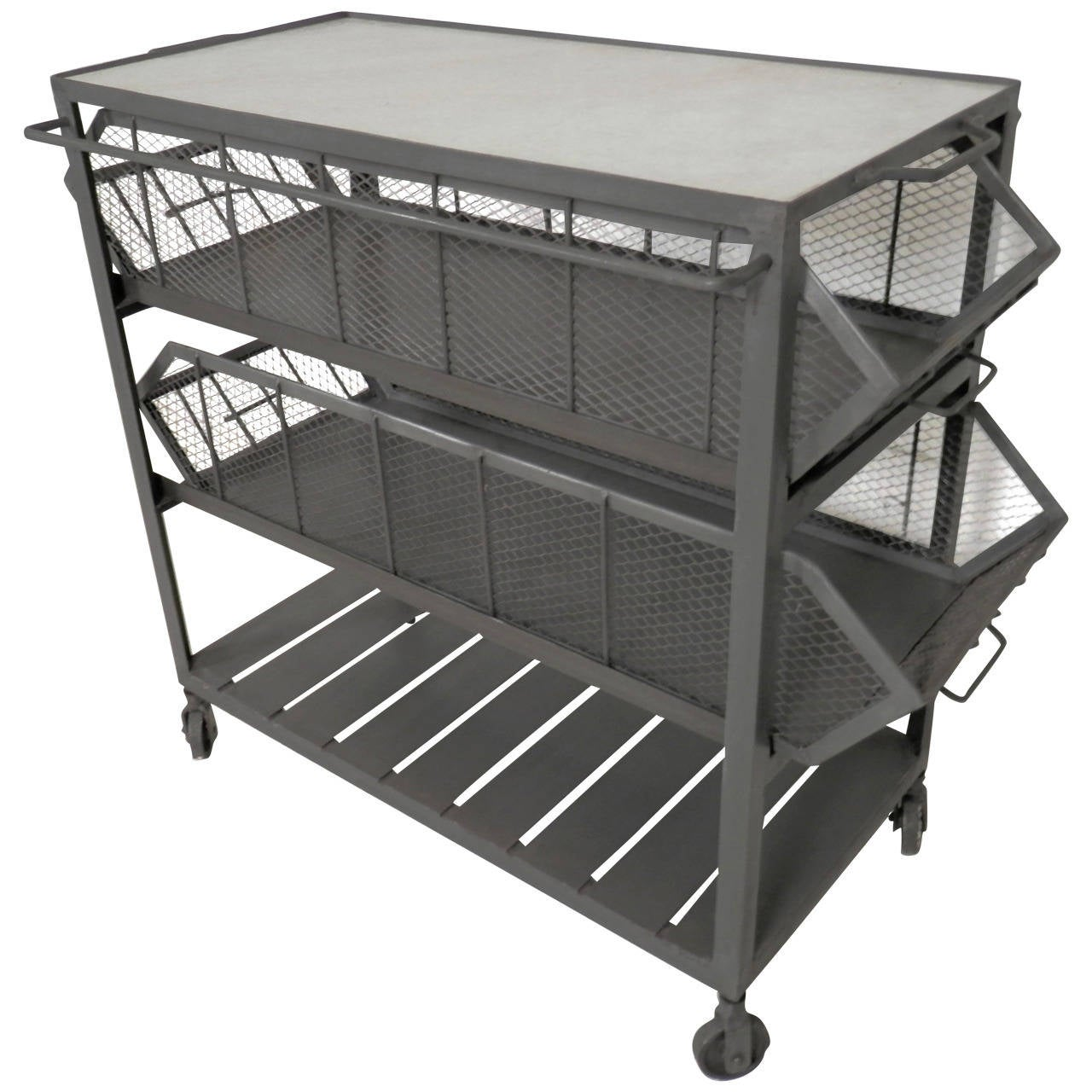 Urban Industrial Age Kitchen Warehouse Cart Island By: Industrial Metal Marble-Top Basket Trolley On Wheels For