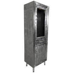 Industrial Glass Front Cabinet with Brush Finish
