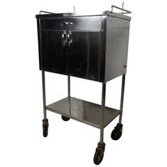 Industrial Style Stainless Steel Medical Cart on Wheels