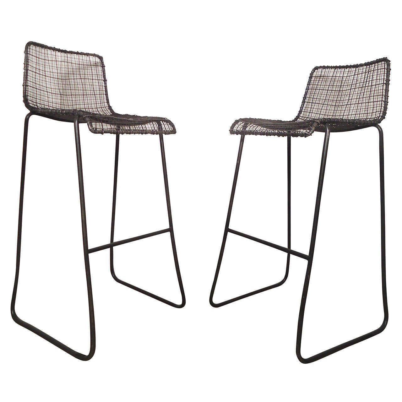 Wonderful Handsome Pair Of Modern Woodard Style Reed Zinc Stools For Sale Photo Gallery