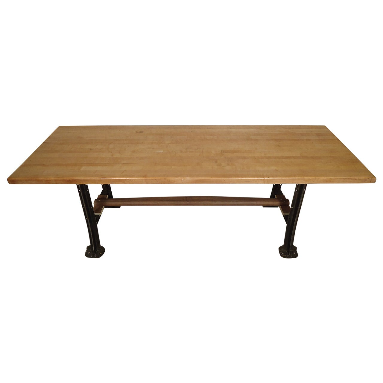 Massive Butcher Block Dining Table on Solid Iron Legs