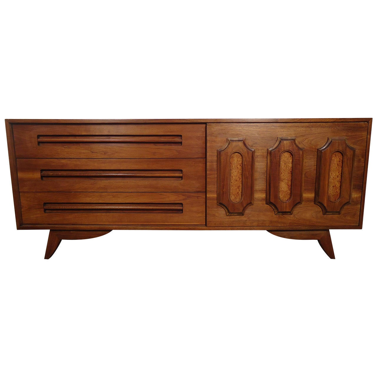Mid century modern walnut and burl wood dresser at 1stdibs for Mid century modern wood furniture