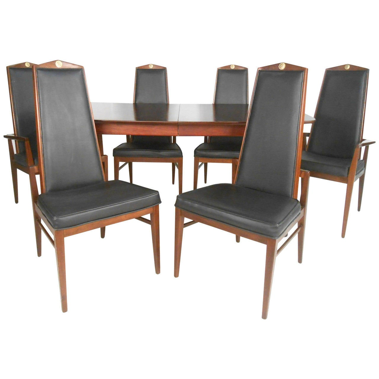 unique mid century modern dining set table with high back chairs at