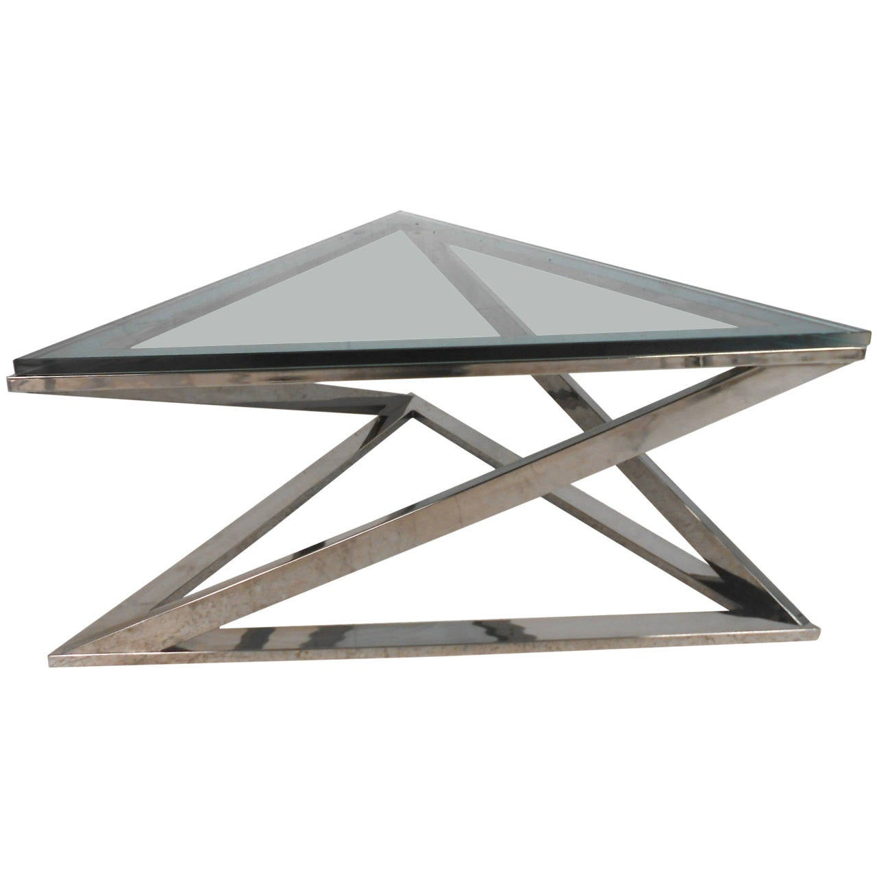 Mid Century Modern Milo Baughman Style Triangular Chrome Coffee Table For Sale At 1stdibs