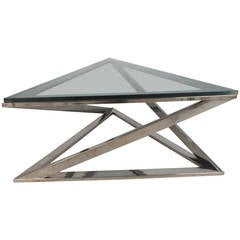 Mid-Century Modern Milo Baughman Style Triangular Chrome Coffee Table