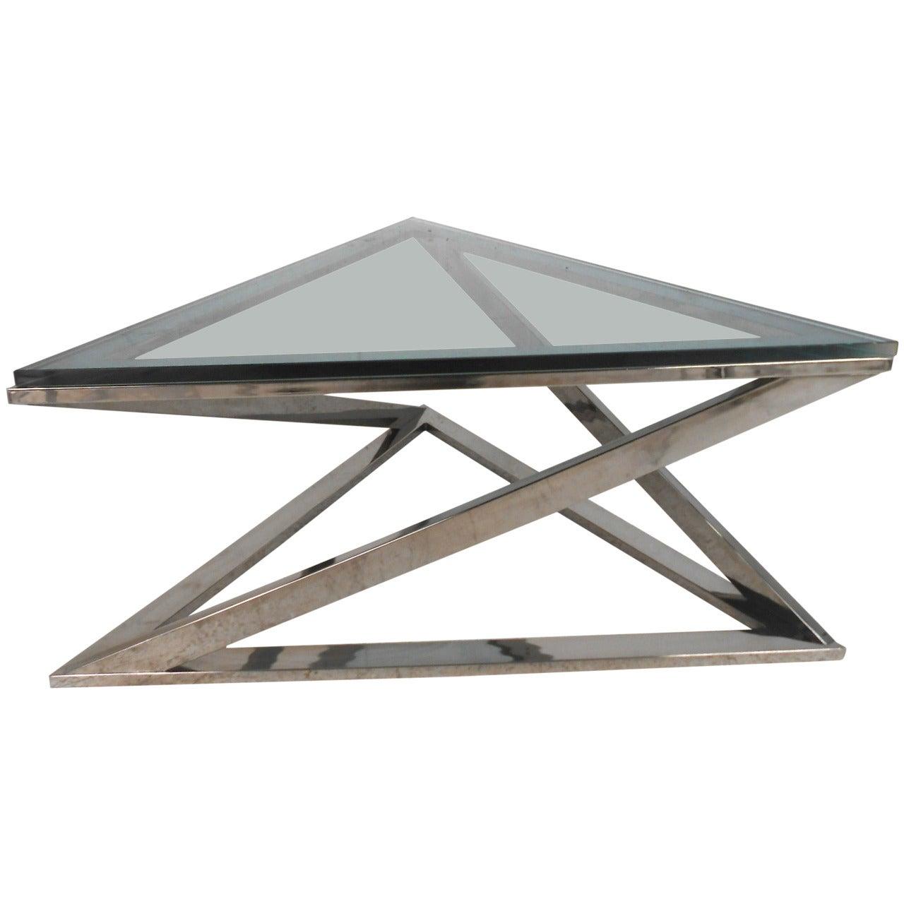 Mid-Century Modern Style Triangular Chrome Coffee Table