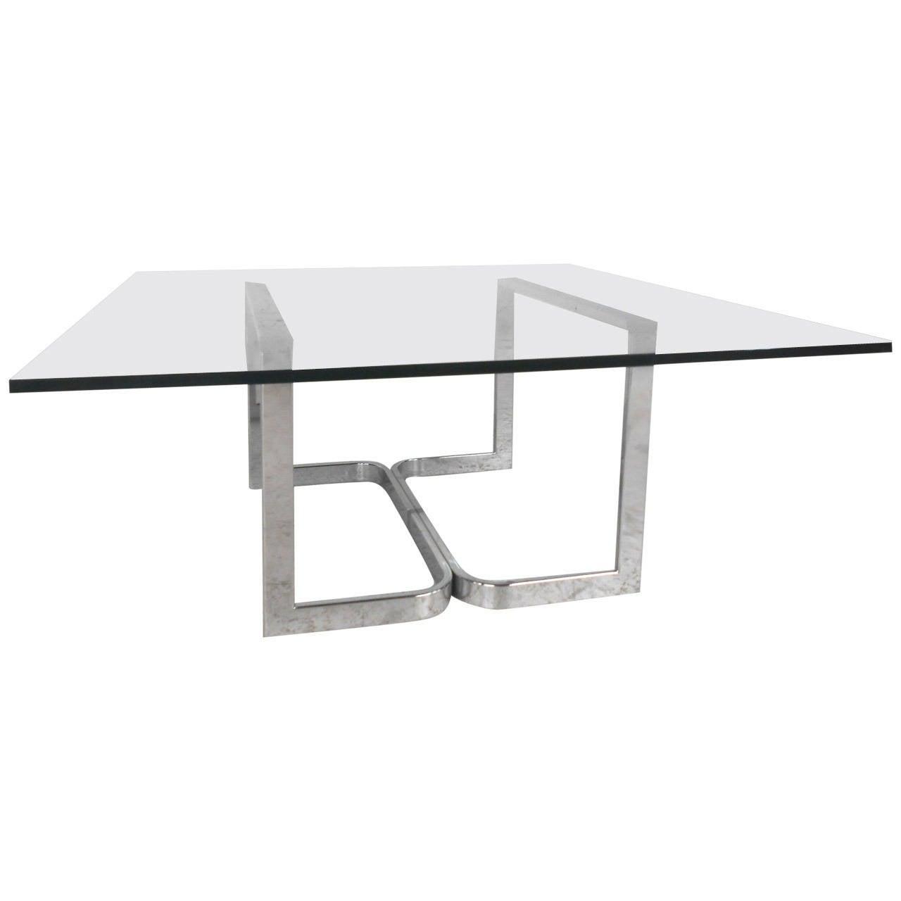 Mid-Century Modern Milo Baughman Style Chrome and Glass Coffee Table