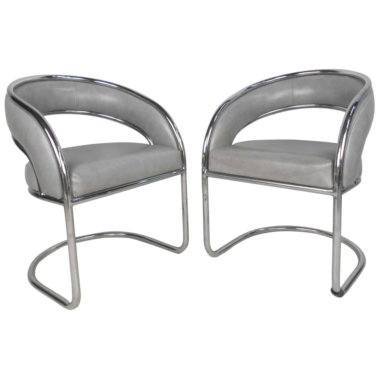 Set of unique mid century modern chrome cantilever dining for Modern chrome dining chairs