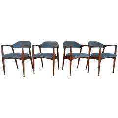 Set of Unique Mid-Century Modern Walnut Dining Chairs