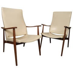 Pair Of Sculpted Mid-Century Danish Arm Chairs