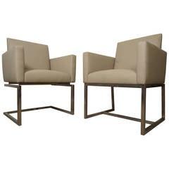 Pair of Mid-Century Milo Baughman Style Armchairs