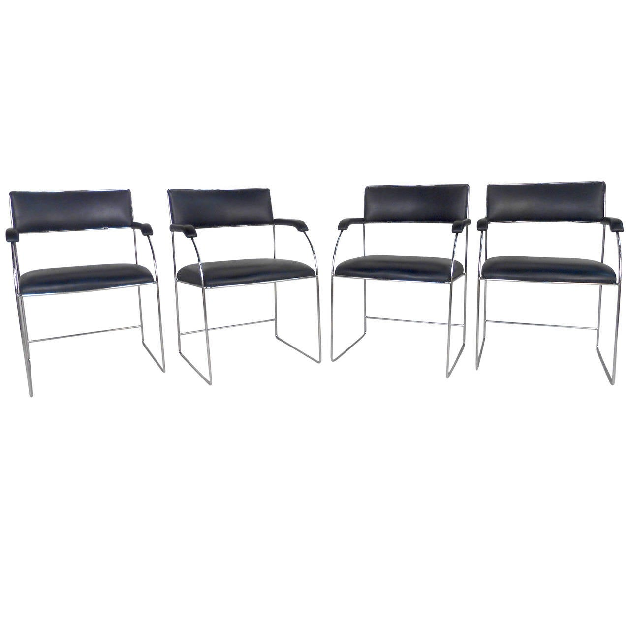 Set of Four Vintage Modern Dining Armchairs For Sale