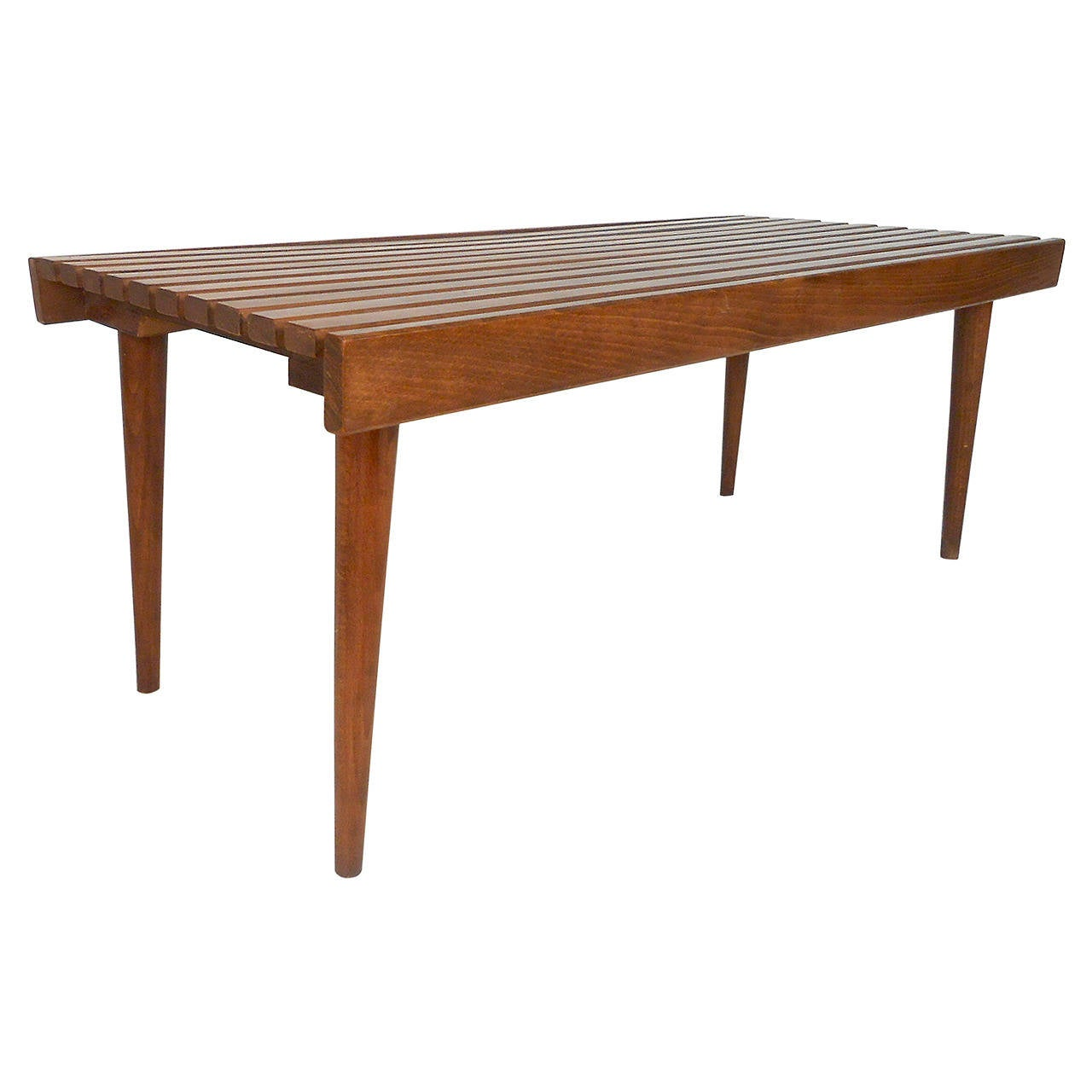 Mid Century Solid Wood Small Platform Slat Bench Or Coffee: Mid Century Modern George Nelson Style Slat Bench At 1stdibs