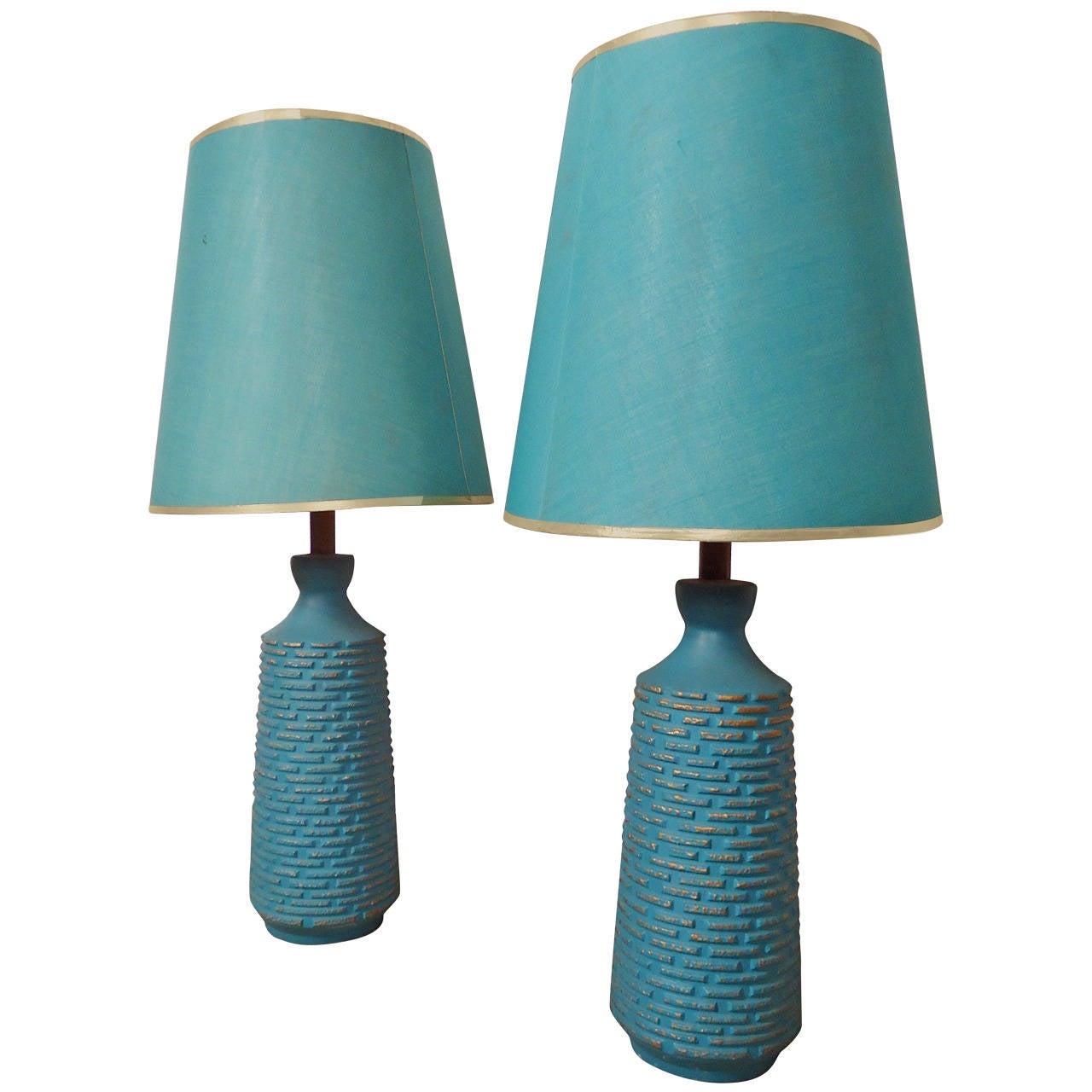 Vivid Teal And Gold Table Lamps At 1stdibs