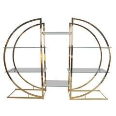 Mid-Century Modern Milo Baughman Style Brass and Glass Circular Etagere