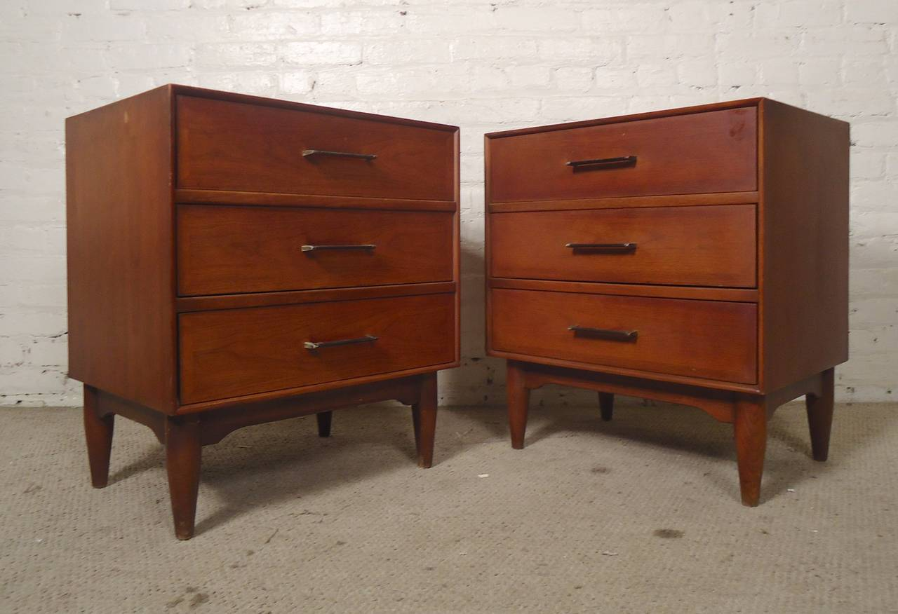 Compact Bedside Tables pair of mid-century bedside tablesramseur at 1stdibs
