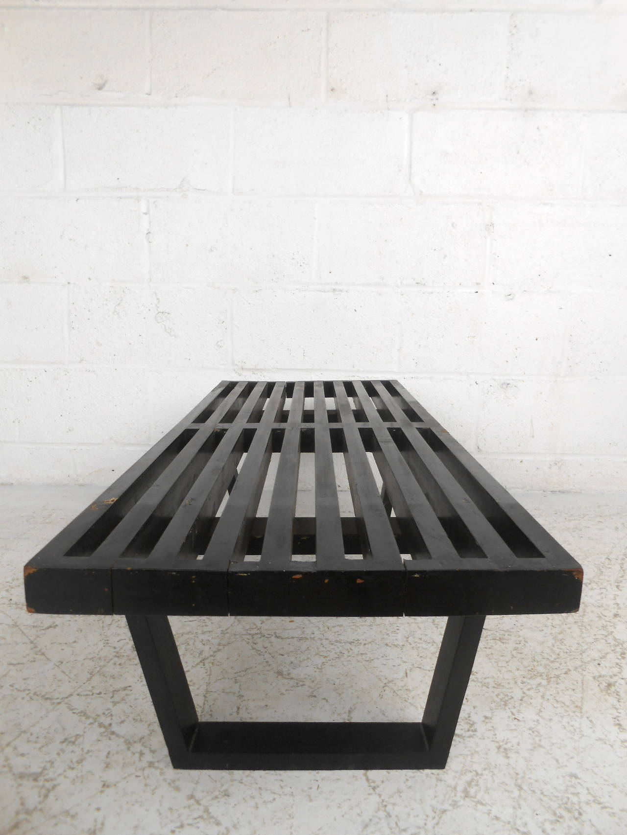 American Mid-Century Modern George Nelson Slat Bench For Sale