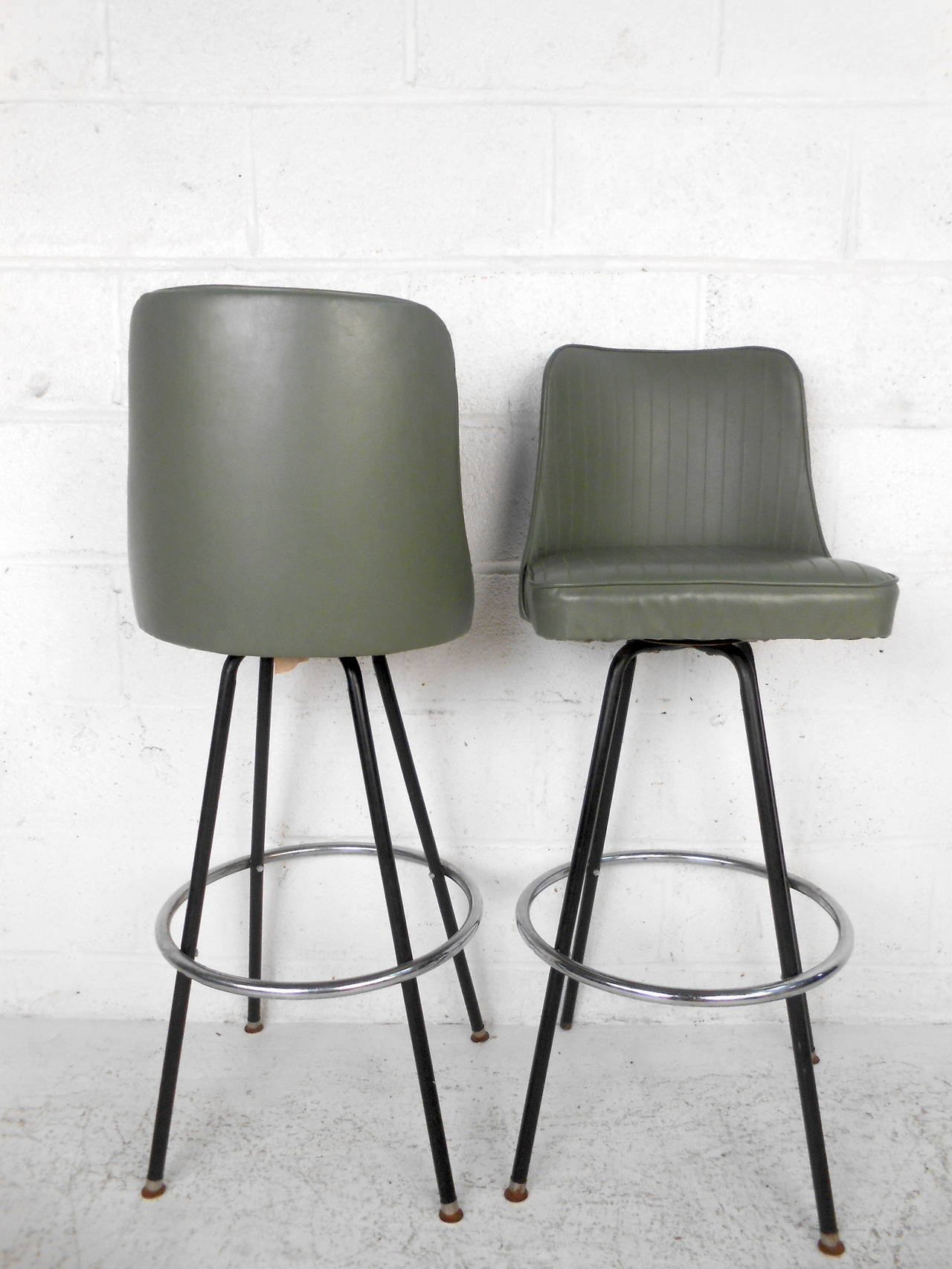 Mid century modern bar stools by atlas for sale at 1stdibs