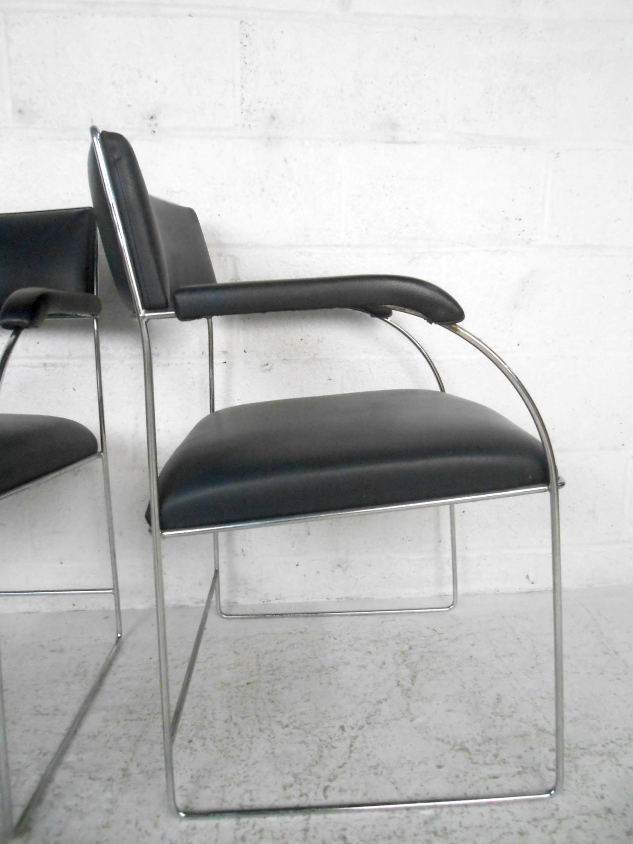 Chrome Set of Four Vintage Modern Dining Armchairs For Sale