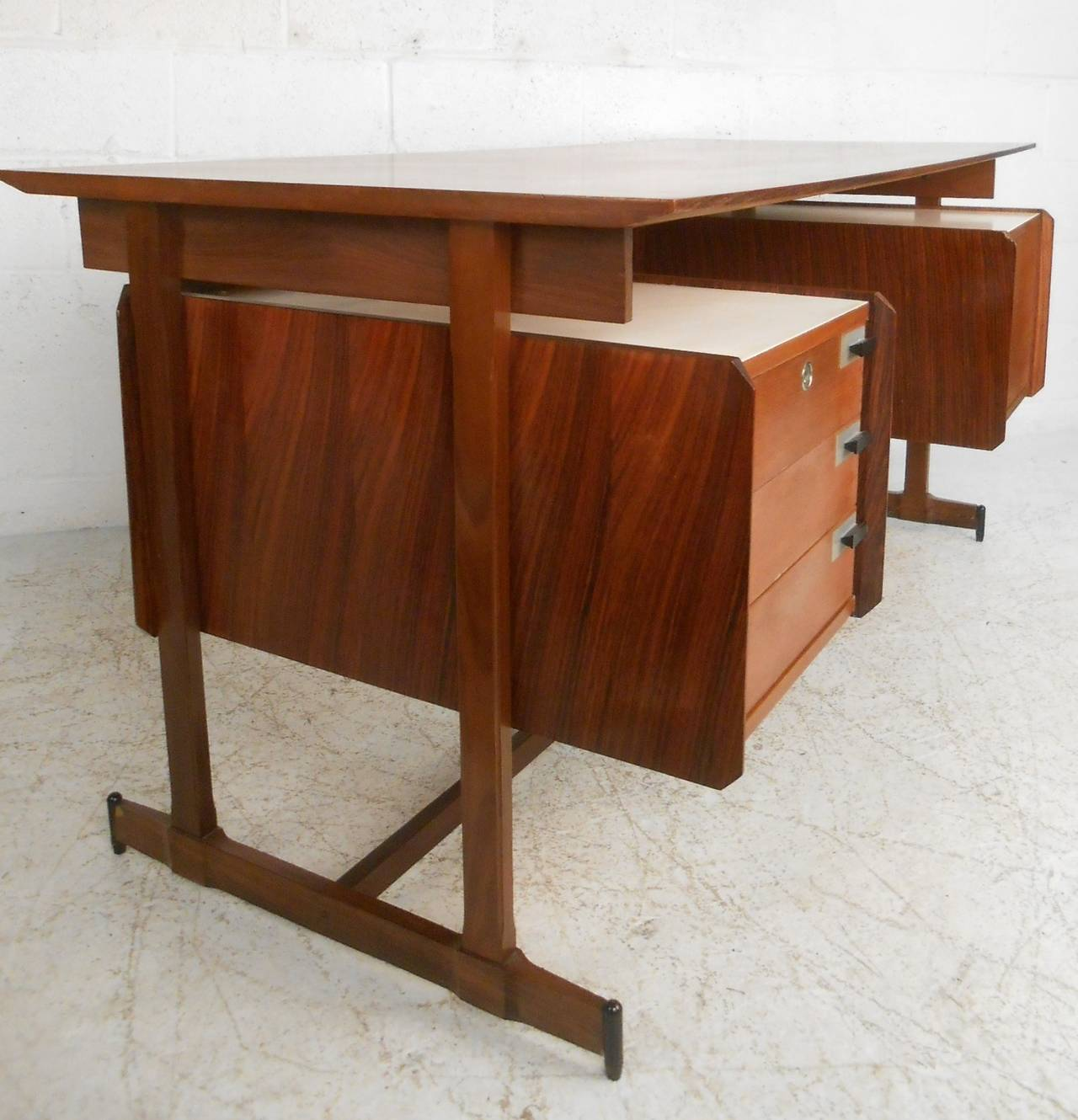 Mid century modern italian rosewood and teak floating top for Floating desk for sale