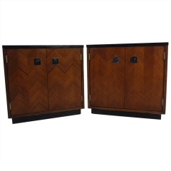 Pair of Vintage Walnut End Table Cabinets