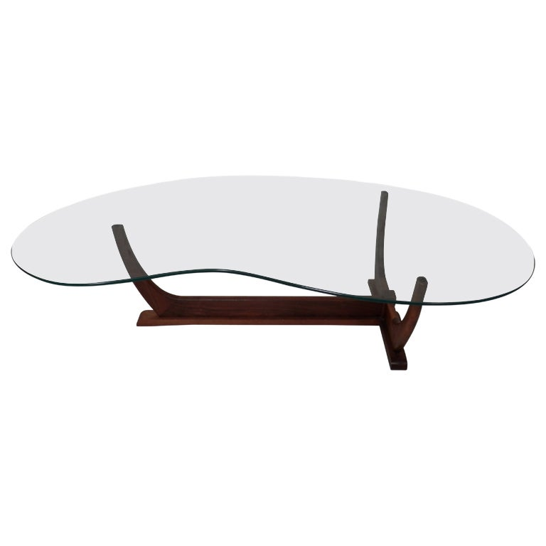 Mid-Century Modern Kidney Shape Coffee Table At 1stdibs