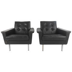 Pair of Mid-Century Modern Leather Lounge Chairs