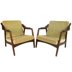 Pair of Vintage Danish Teak Lounge Chairs