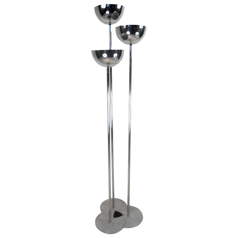 Stylish Vintage Modern Three Head Chrome Floor Lamp For Sale