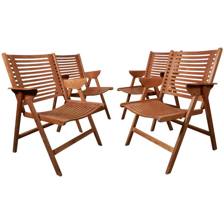 Folding Bentwood Deck Chairs at 1stdibs