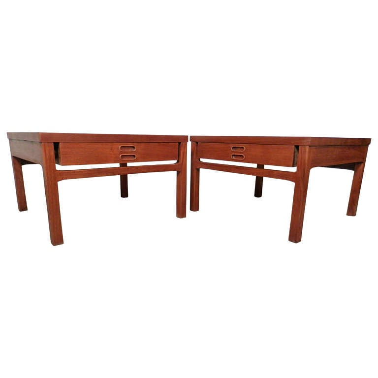 Pair Of Mid Century Wide Sofa Tables From Denmark For Sale
