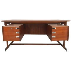 Mid-Century Modern Italian Rosewood and Teak Floating Top Executive Desk