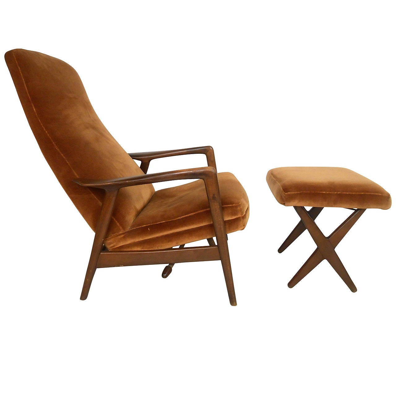 Mid Century Modern Folke Ohlsson Lounge Chair And Ottoman