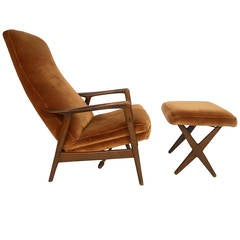 midcentury modern folke ohlsson lounge chair and ottoman - Mid Century Lounge Chair