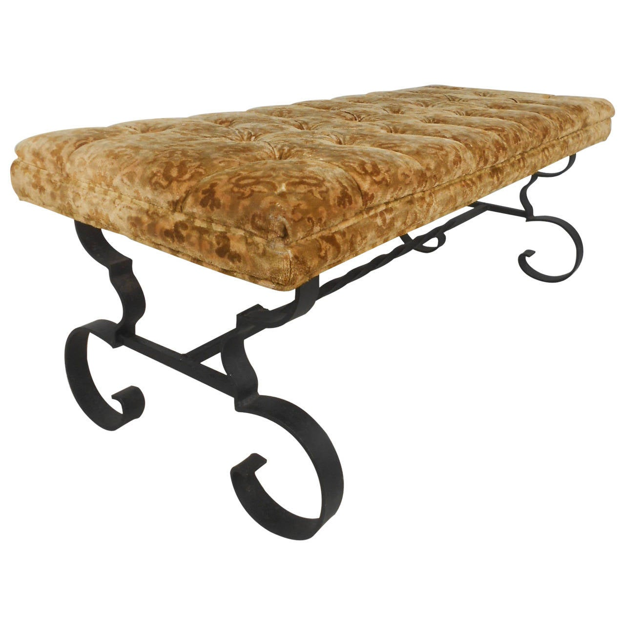 Wrought Iron Upholstered Bench At 1stdibs